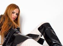 чернота boots высокая женщина колена стоковое фото