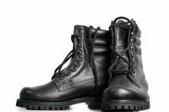 чернота boots высокая кожа Стоковая Фотография RF