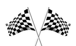 чернота chequered пересеченные флаги струилась белизна Стоковые Фотографии RF