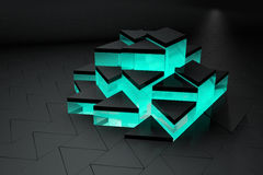 чернота 3D и предпосылка треугольника бирюзы Стоковые Фотографии RF