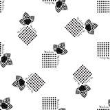 Черноты стиля клубники картина плоской безшовная Стоковое фото RF