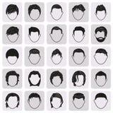 Черноты стиля причёсок человека установленные значки мужской простые Стоковые Фото