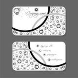 Черно-белая визитная карточка с кругами стоковые изображения