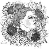 черно-белая девушка против предпосылки солнцецветов иллюстрация вектора