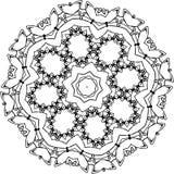 Черно-белая иллюстрация мандалы - цветка жизни космический космос иллюстрация штока