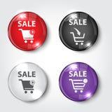 Черно-белая кнопка установленная кругом и квадратные кнопки Стоковое Изображение