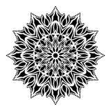 Черно-белая линия иллюстрация флористических лист мандалы искусства стоковая фотография