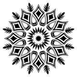 Черно-белая линия иллюстрация флористических лист мандалы искусства стоковые фотографии rf