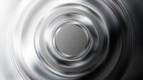 Черно-белая лоснистая металлическая анимация видео кругов бесплатная иллюстрация