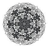 Черно-белая мандала вектора на белой предпосылке Стоковое Изображение