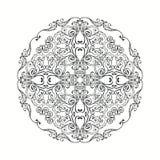 Черно-белая мандала Взрослый дизайн страницы книжка-раскраски Стоковое Изображение