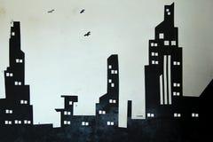 Черно-белая стена предпосылки города иллюстрация вектора