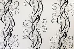 Черно-белая текстура предпосылки флористических обоев Стоковые Изображения