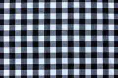 Черно-белая текстура текстильной ткани шотландки стоковая фотография rf