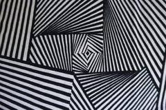 Черно-белая ткань с геометрической картиной Стоковое фото RF