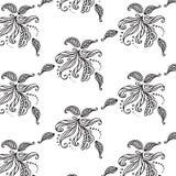 Черно-белая флористическая картина вектора Стоковые Изображения
