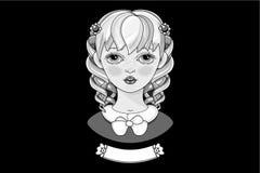 Черно-белое изображение Красивейшая блондинка вектор Стоковое Изображение RF