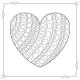 Черно-белое сердце контура для страницы книжка-раскраски Стоковые Изображения