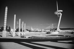 Черно-белое ультракрасное фото, Испания, Барселона, площадь Европа стоковое фото