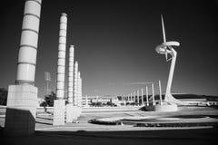 Черно-белое ультракрасное фото, Испания, Барселона, площадь Европа стоковые изображения