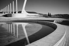 Черно-белое ультракрасное фото, Испания, Барселона, площадь Европа стоковые фотографии rf