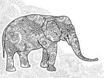 Черно-белой zentangle страницы расцветки отпуска стресса Пейсли doodle слона нарисованное рукой животное взрослое бесплатная иллюстрация