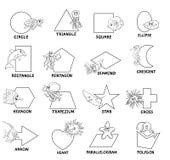 Черно-белые геометрические формы с морскими животными иллюстрация штока
