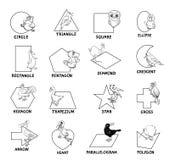 Черно-белые геометрические формы с птицами иллюстрация вектора