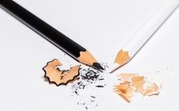 Черно-белые карандаши с Shavings 2 Стоковая Фотография RF