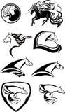 Черно-белые логотипы лошади Стоковая Фотография RF
