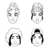 Черно-белые портреты девушек с различными заставками, иллюстрацией вектора моды иллюстрация вектора