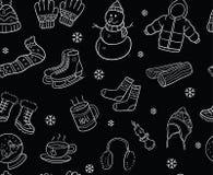 Черно-белые элементы зимы и картина объектов безшовная Стоковые Изображения