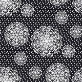 Черно-белый абстрактный одуванчик цветет безшовная картина Стоковое фото RF