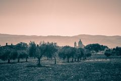 Черно-белый взгляд собора th degli Angeli Santa Maria Стоковые Фото