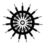 Черно-белый, геометрический дизайн колеса иллюстрация вектора