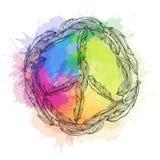 Черно-белый знак boho мира сделанный пер и акварели радуги брызгает pacific иллюстрация штока