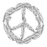 Черно-белый знак boho мира сделанный пер pacific бесплатная иллюстрация