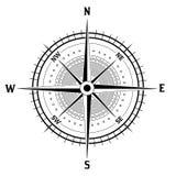 Черно-белый значок компаса Стоковая Фотография RF