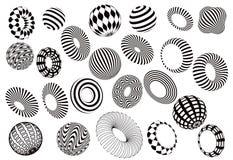 Черно-белый комплект вектора форм 3d Стоковая Фотография