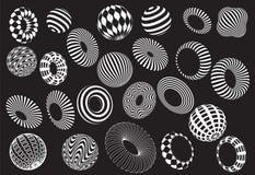 Черно-белый комплект вектора форм 3d Стоковое Изображение