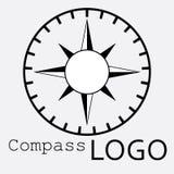 Черно-белый логотип компаса зацепляет икону Роза ветра Стоковые Изображения RF