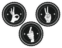 Черно-белый логотип с руками подписывает текстуру внутренних и усадьбы Стоковые Фотографии RF
