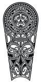 Черно-белый маорийский орнамент стиля Стоковое Фото