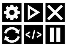 Черно-белый набор значка меню, вектор иллюстрация вектора