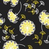 Черно-белый одуванчик цветет безшовная картина Стоковое Фото