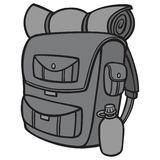 Черно-белый пеший рюкзак Иллюстрация штока