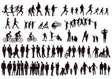 Черно-белый силуэт людей Стоковая Фотография