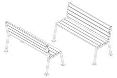 Черно-белый стенд улицы контура сделанный из деревянных предкрылков на поддержках металла, vector равновеликая картина Стоковые Фотографии RF