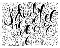 Черно-белый черный кофе отсутствие плаката оформления сахара monochrome плакат кофе вектора с doodles листья, звезды и сердца бесплатная иллюстрация