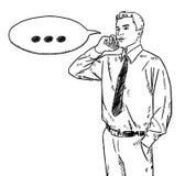 Черно-белый doodle бизнесмена говоря на мобильном телефоне бесплатная иллюстрация